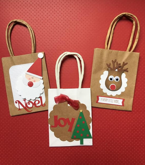 Sacolas de papel para o Natal