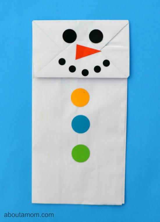 Sacolas de papel para fazer Bonecos de Neve
