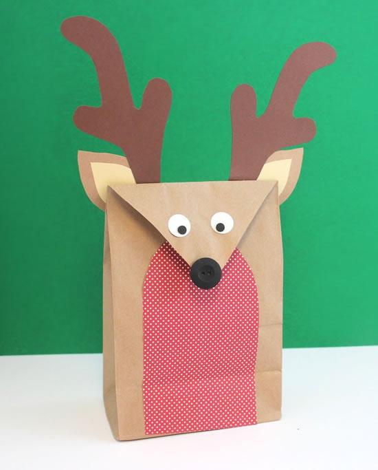 Sacolas de papel decoradas para o Natal
