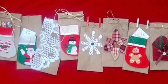 Sacolas de papel decoradas para Natal