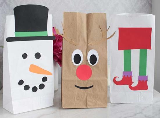 Sacolas de papel para fazer enfeites de Natal
