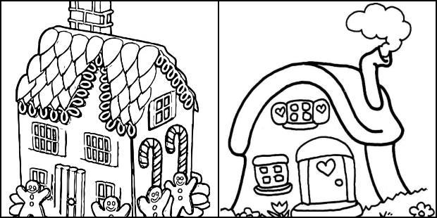 Desenhos de casa para imprimir e colorir