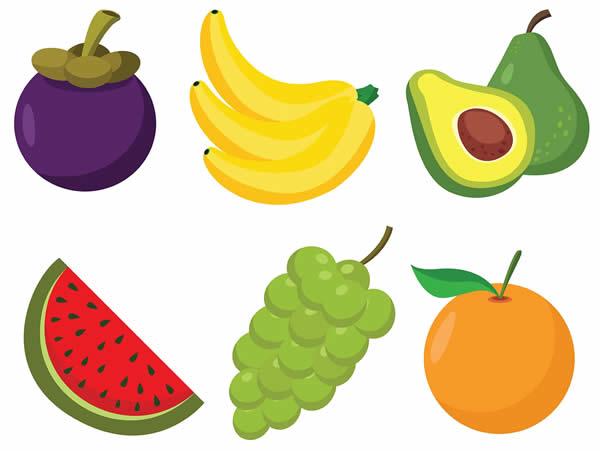 Desenho de frutas coloridas