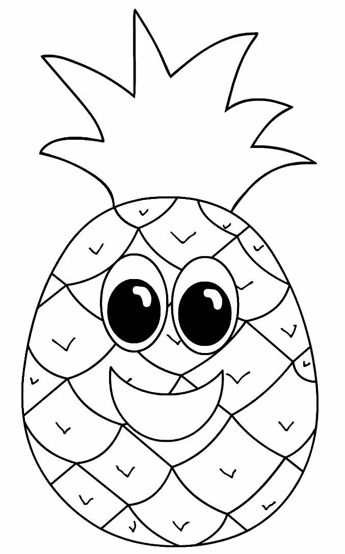 Desenho de abacaxi para pintar