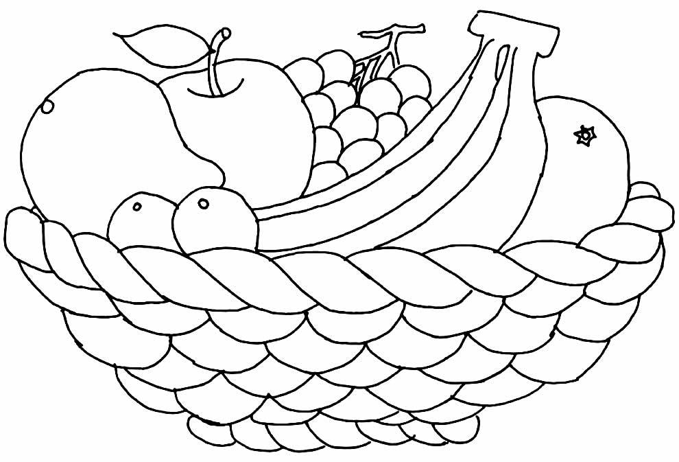 Desenho de frutas para pintar