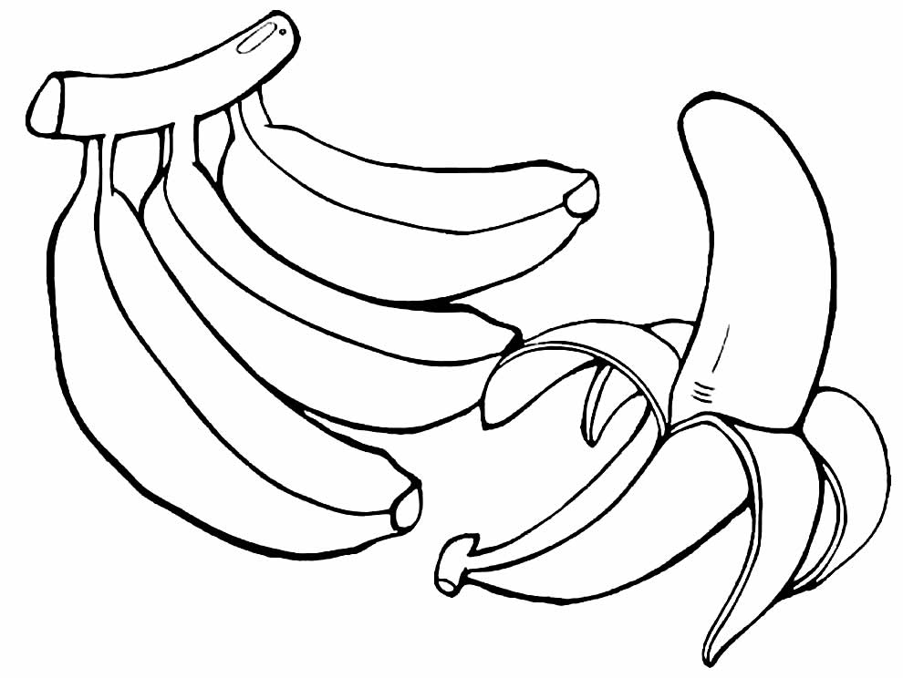 Lindo desenho de banana para colorir