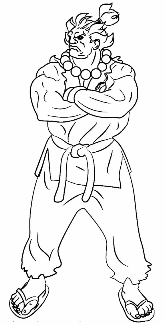Desenho de Akuma para colorir - Street Fighter