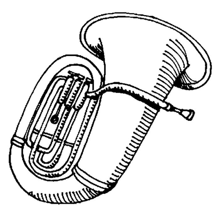 Desenho de instrumento de sopro para colorir