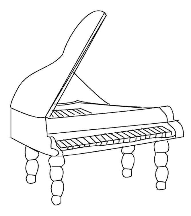 Desenho de piano para colorir