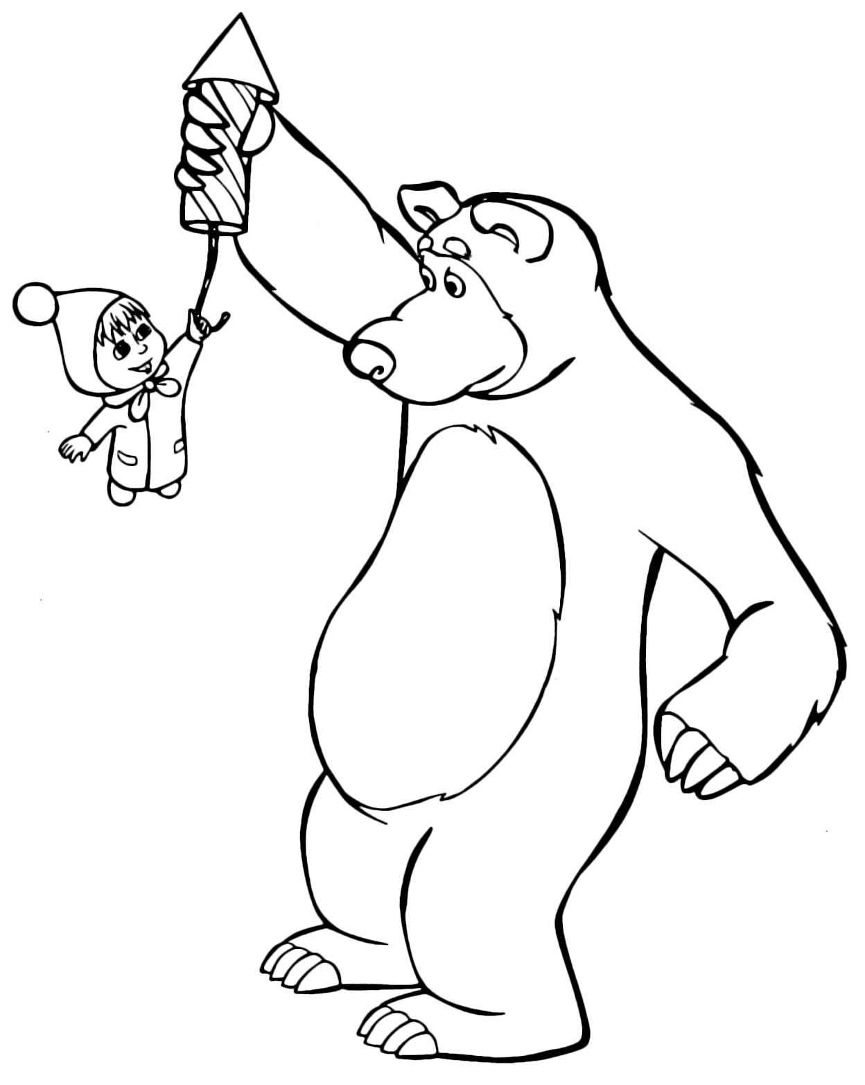 Desenho de Marsha e o Urso para colorir