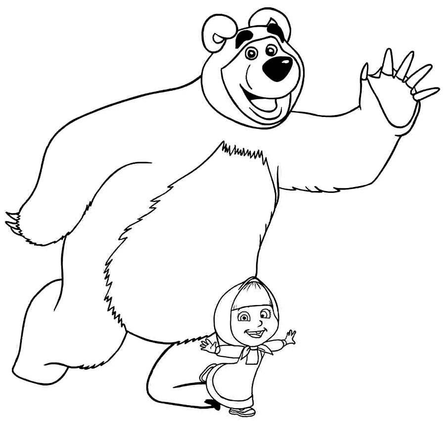 Desenho de Marsha e o Urso para pintar