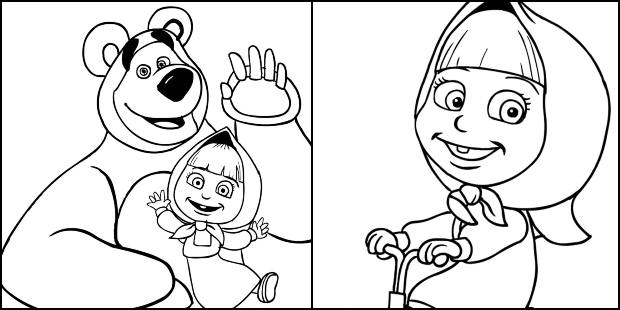 Desenhos de Marsha e o Urso para colorir