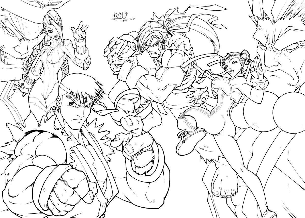 Moldes de Street Fighter para colorir