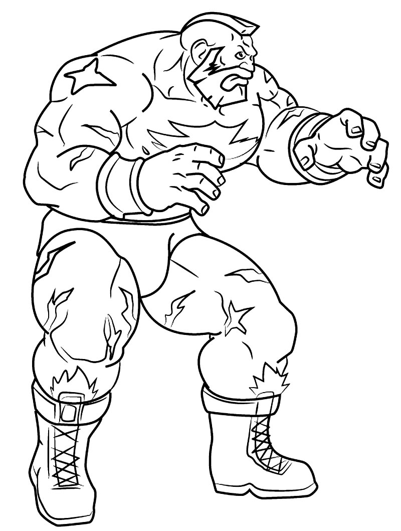 Modelo de Street Fighter para colorir