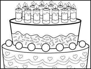 Desenhos de bolo de aniversário para colorir