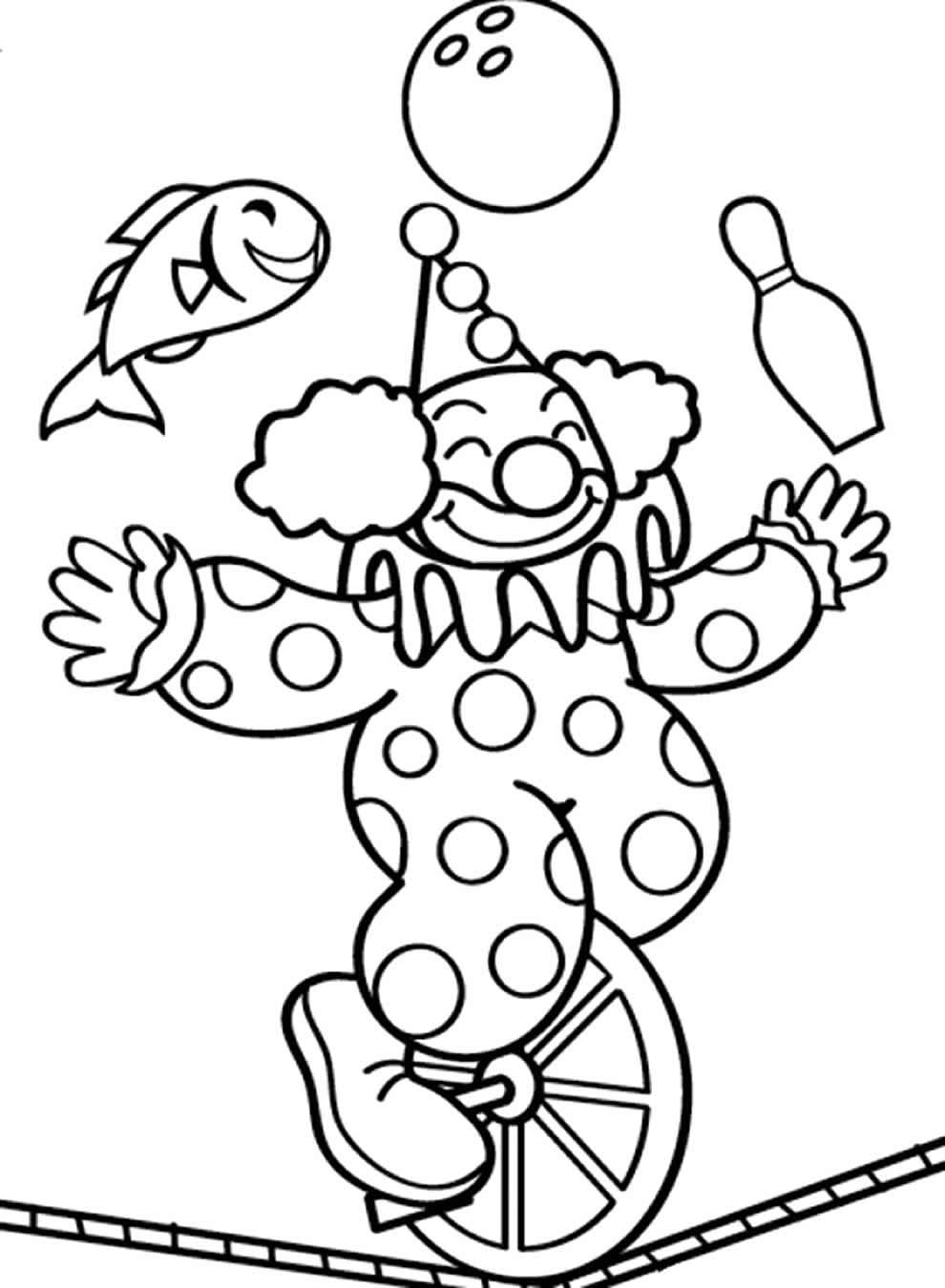 Desenho de palhaço para pintar