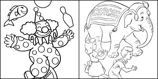 Desenhos de circo para colorir e imprimir