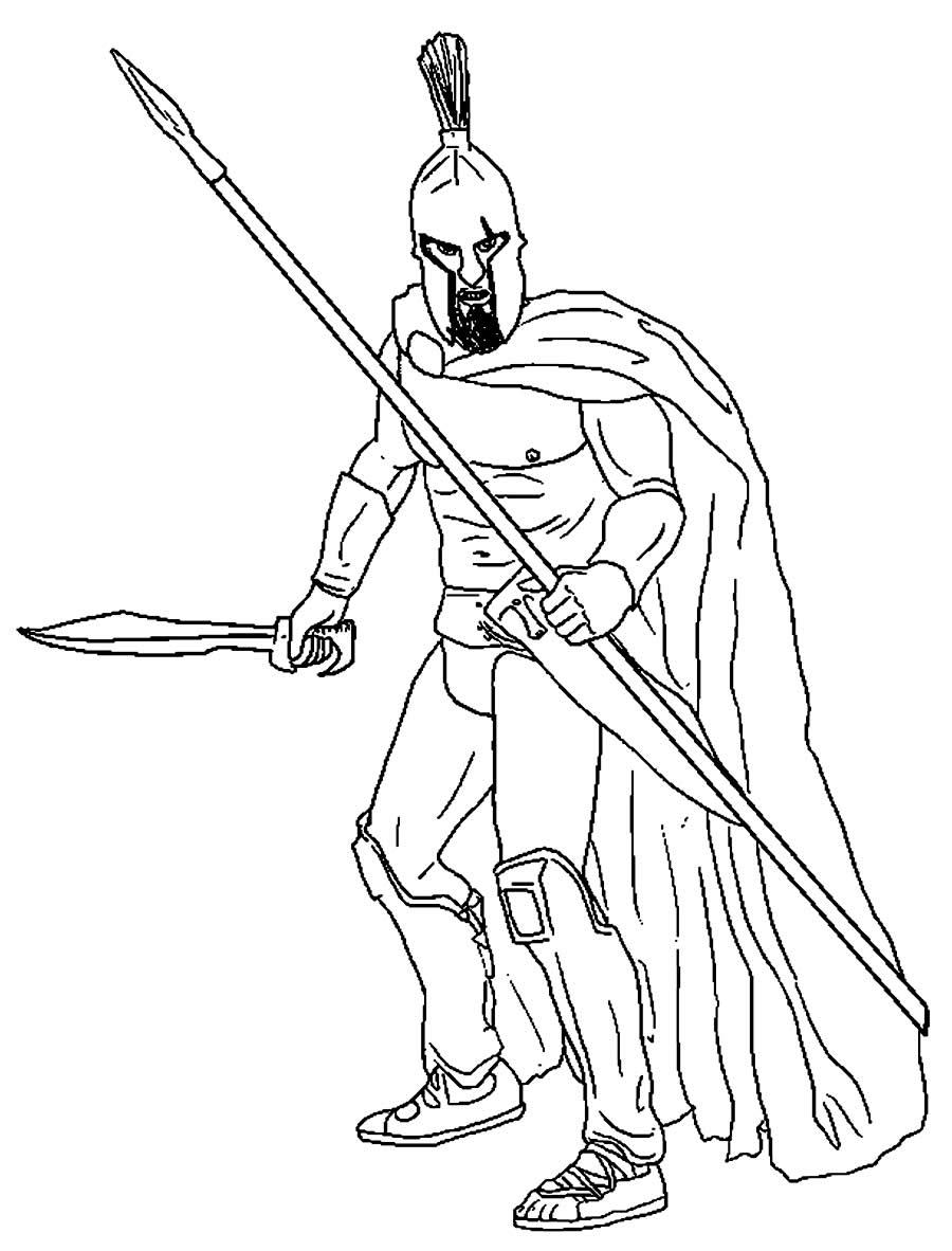 Desenho de guerreiro para colorir