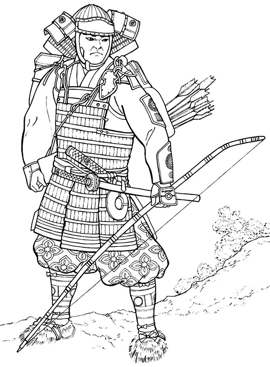 Imagem de samurai para imprimir e pintar
