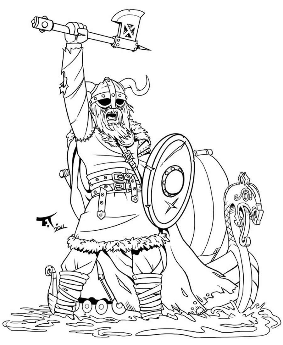 Imagem de guerreiro para colorir