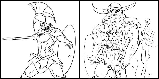 Desenhos de guerreiro para colorir