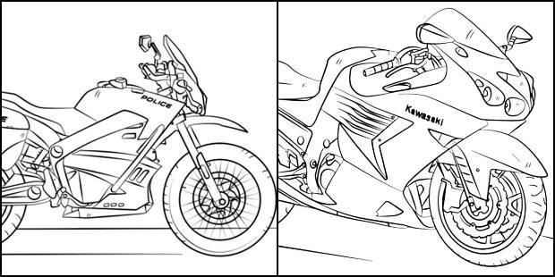 Desenhos de moto para imprimir e colorir