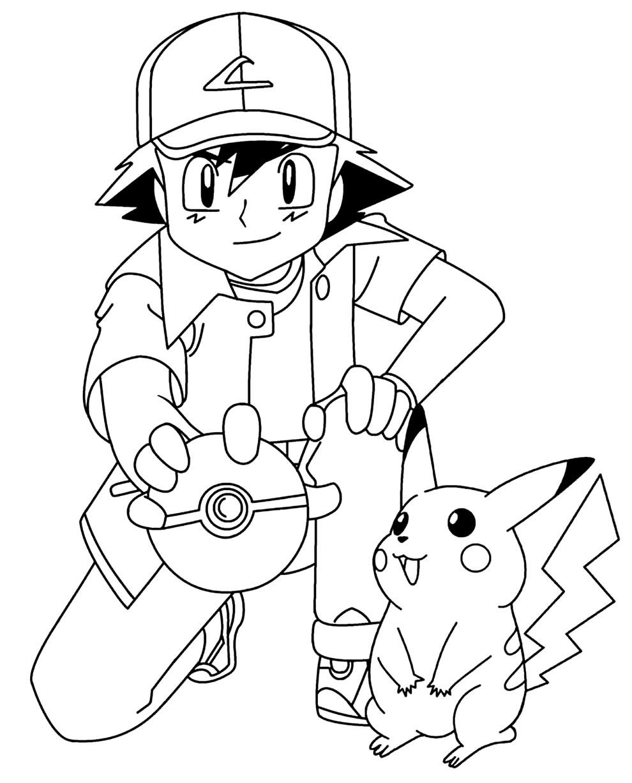 Desenho de Ash e Pikachu para colorir