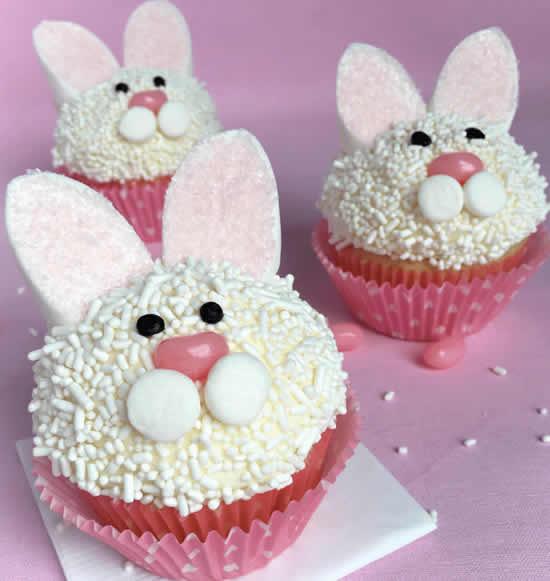 Decoração com cupcakes de coelhinhos