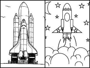 Desenhos de foguete para colorir