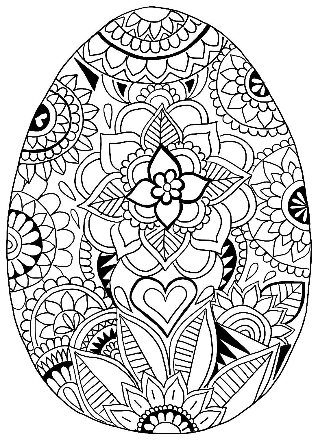 Desenho para colorir de Ovo de Páscoa