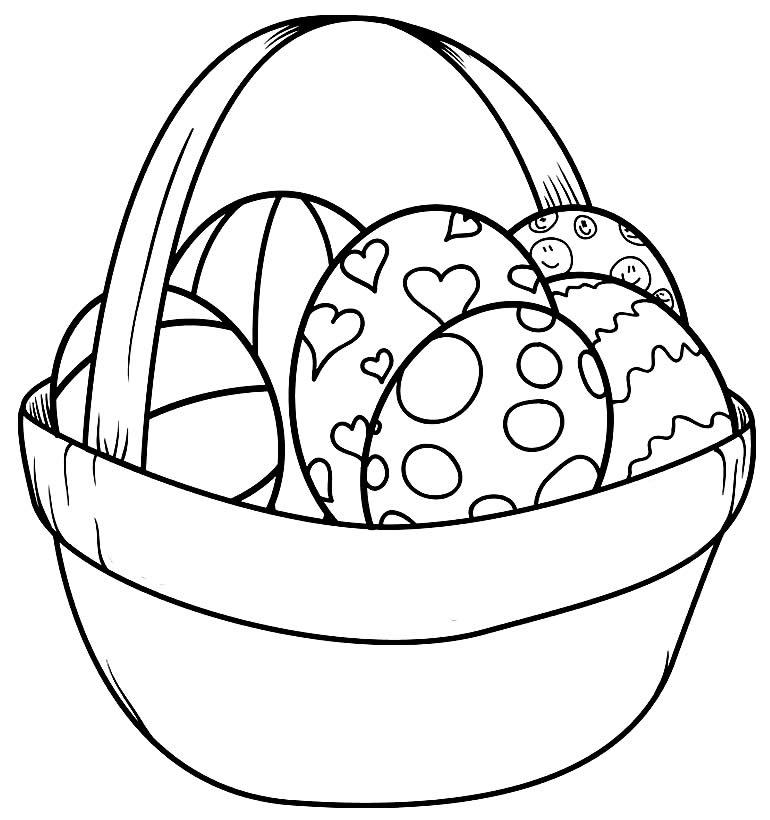 Desenho para pintar de Cesta de Ovo de Páscoa
