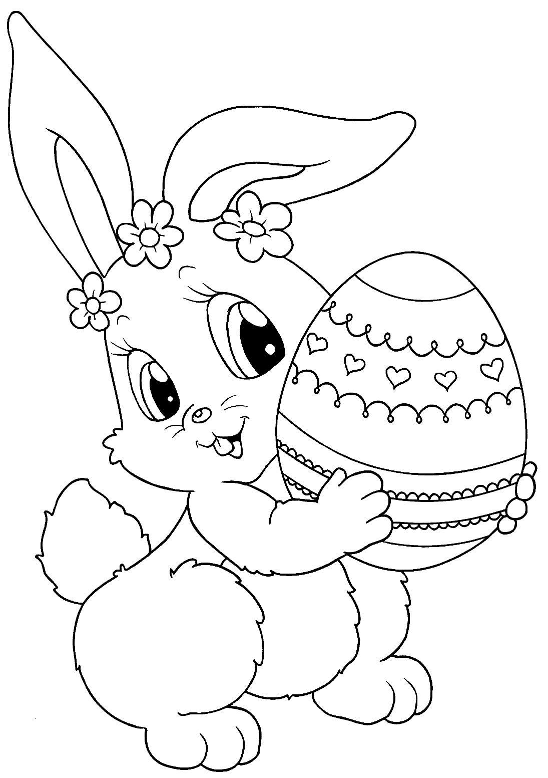 Desenho de Coelhinho com Ovo de Páscoa para colorir