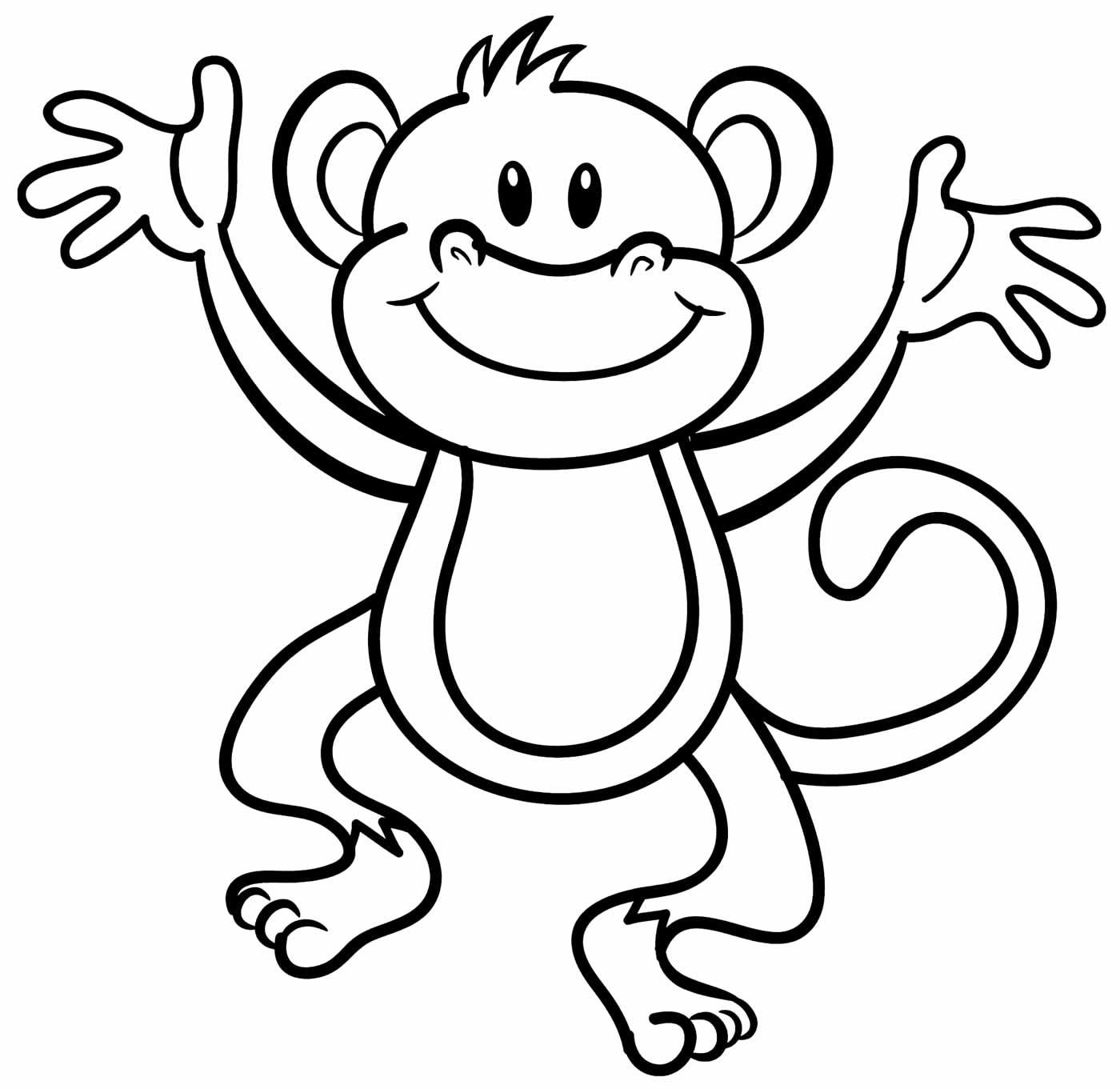 Desenho de macaco para imprimir e colorir
