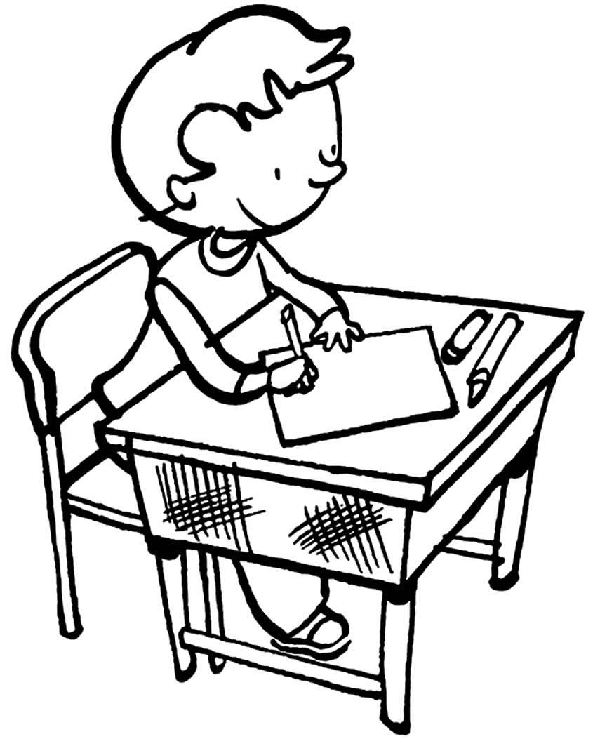 Desenho de estudante para colorir