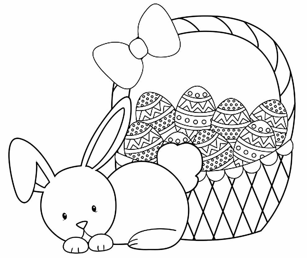 Desenho de Coelhinho e Ovos de Páscoa