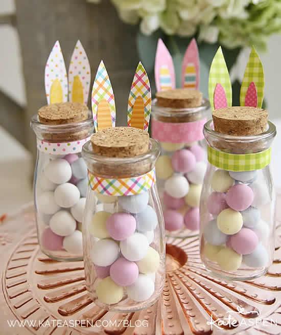 Potinhos com doces para Páscoa
