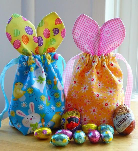 Sacolinhas de coelhinho em tecido para Páscoa