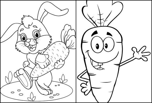 Desenhos de cenoura de Páscoa para colorir