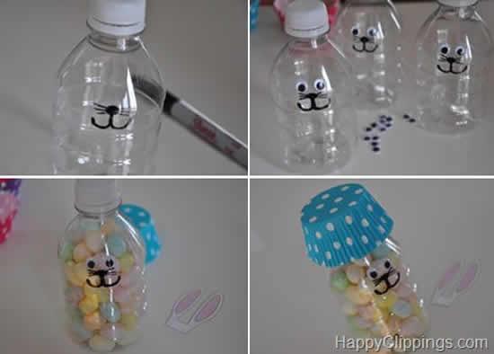 Lindo passo a passo de coelhinho com garrafa PET