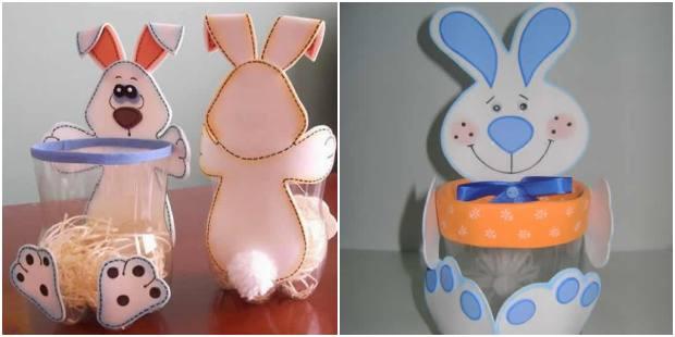 Coelhinhos com EVA e garrafa PET