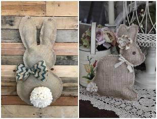 Coelhinhos de juta para Páscoa com moldes