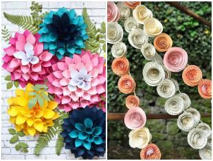 Flores de papel para enfeites de festa