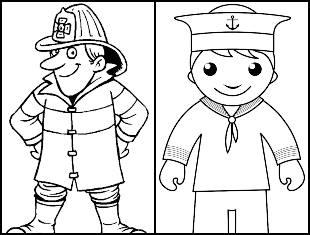 Desenhos das profissões para colorir