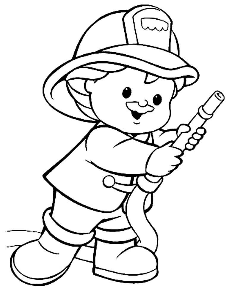 Desenho de bombeiro para pintar