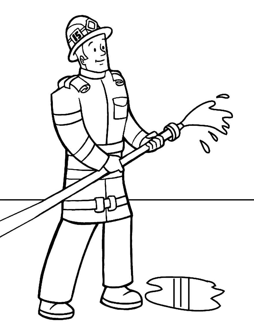 Imagem de bombeiro para colorir