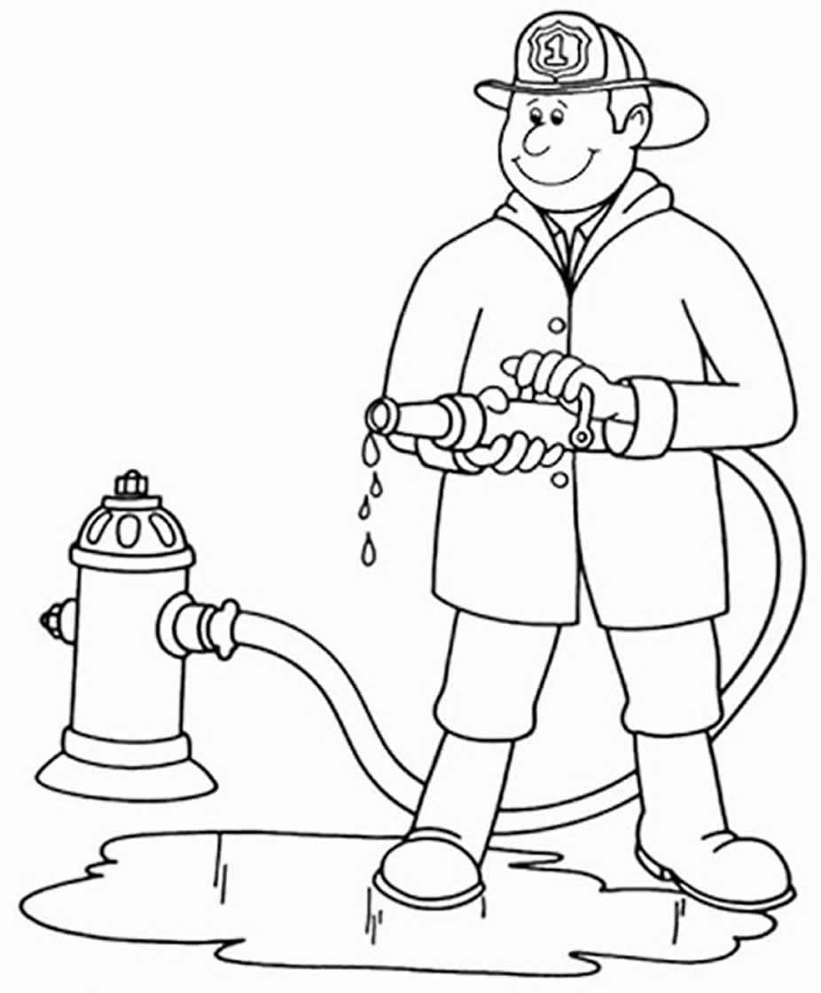 Desenho de bombeiro para colorir
