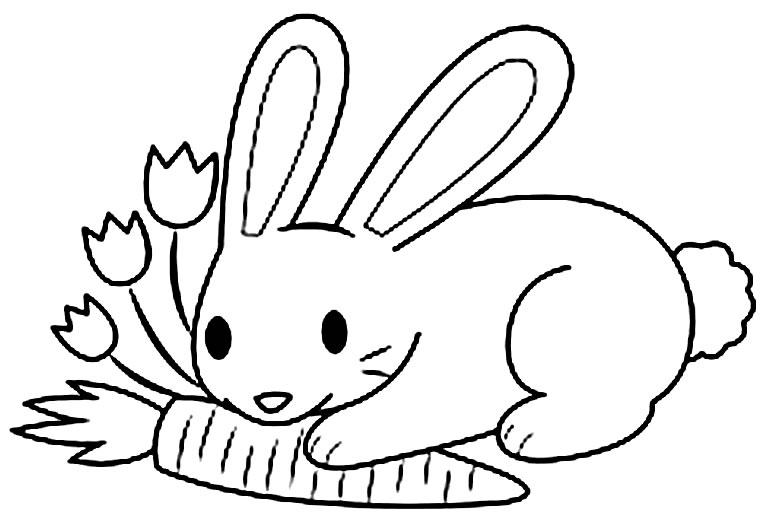Cenoura com Coelho de Páscoa para colorir