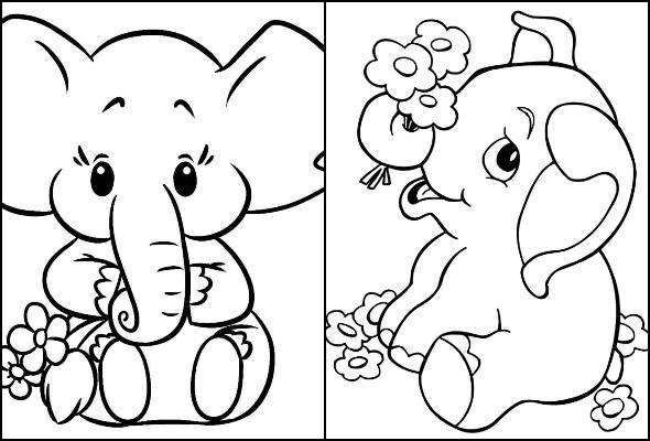 Desenhos de elefante para pintar