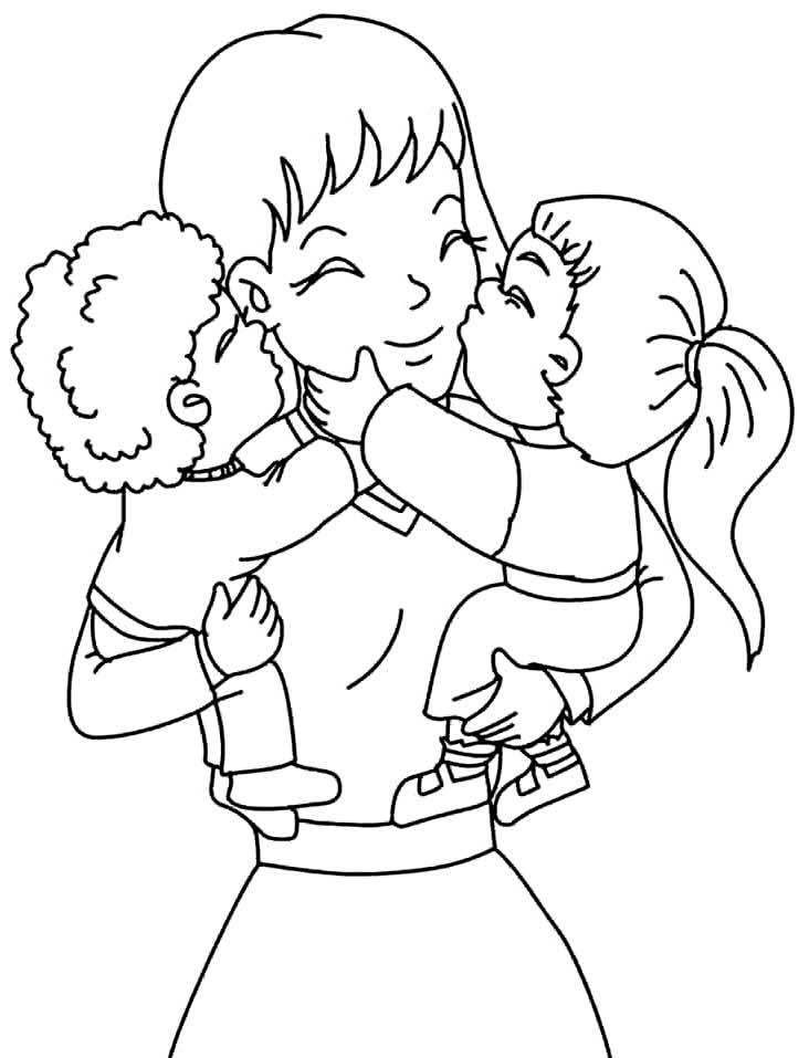 Desenho de mãe para colorir
