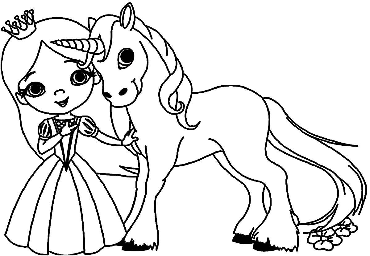 Imagem de unicórnio e princesa para píntar